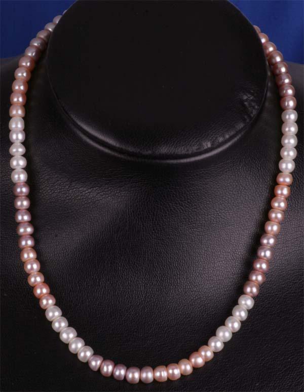 Perlenkette Super Eng geknüpft 3-Farbig 45cm