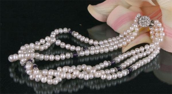 Süßwasser Zucht-Perlen-Collier dreireihig -weiß,schwarz-