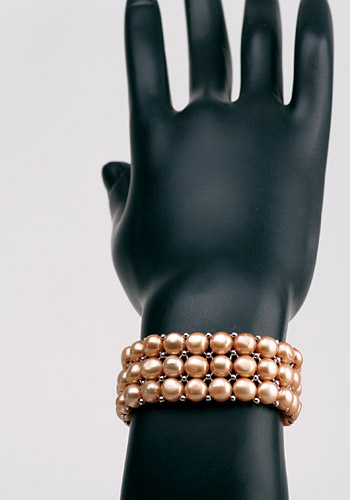 3-Reihiges Champagner-Farbenes Perlenarmband aus Echten Zuchtperlen
