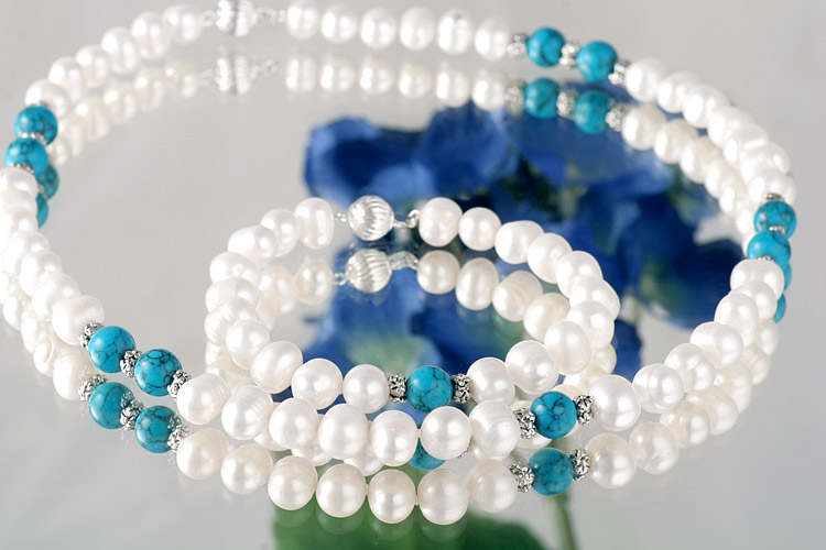 Perlenkette Perlenarmband Set mit Echten Türkisen 7-8mm Durchmesser