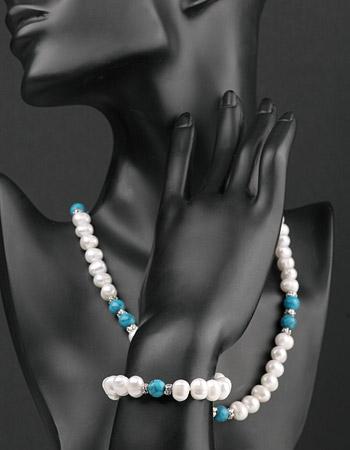 Perlenkete Perlenarmband Set 2-teilig mit Echten Türkisen Perlen-Set