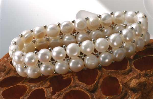 Süßwasser Zucht-Perlenarmband 2-reihig