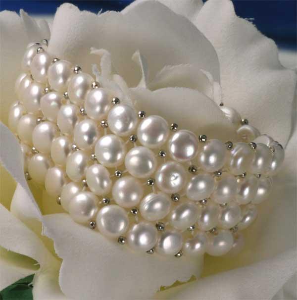 Süßwasser Zucht-Perlenarmband 4-reihig