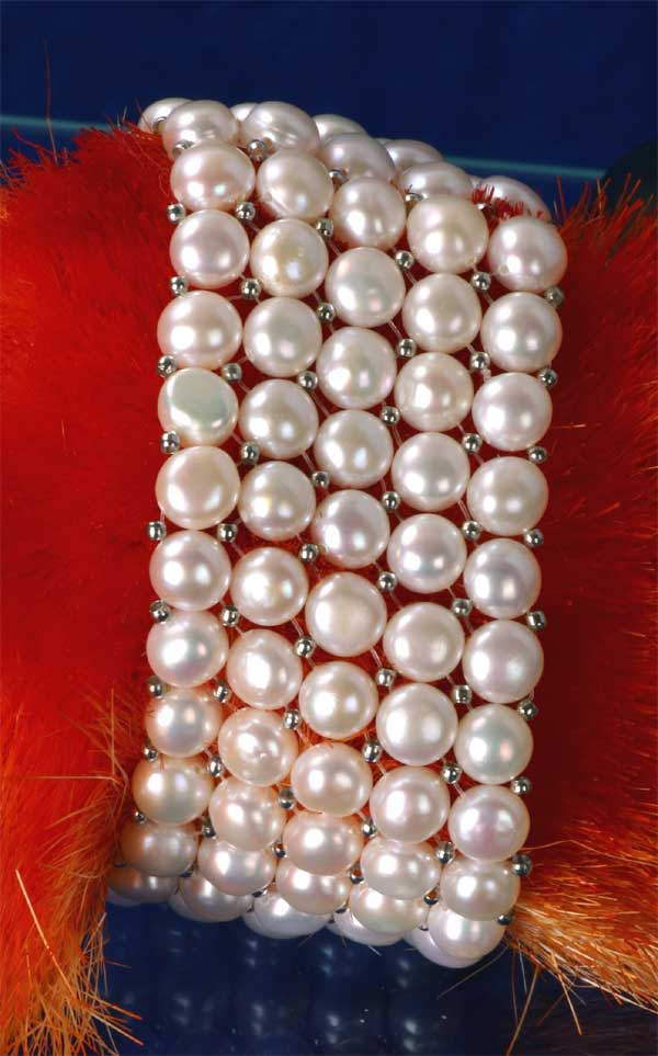 Süßwasser Zucht-Perlenarmband 5-reihig