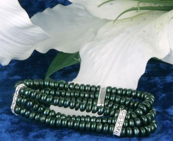 Perlenarmband Strass 3-Reihig Grün A110