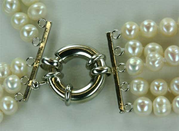 Perlencollier aus Echten Süsswasserzuchtperlen 5-Reihig Weiss