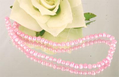 Echter Zuchtperlenstrang 4-7mm light pink ca. 38cm irregluar