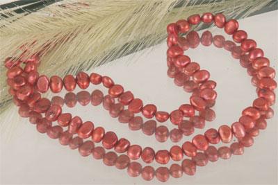 Echter Zuchtperlenstrang ca. 8cm Lang Kupfer Rot