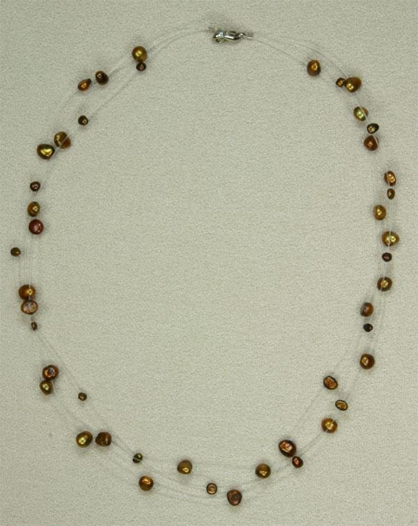 Filigrane Perlenkette Kupfer Braun Masteract