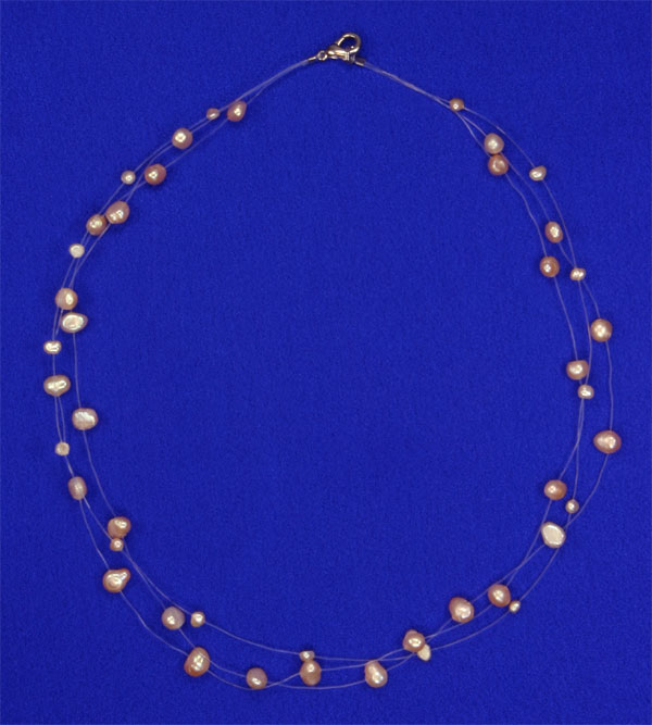 Süsswasser Perlenkette Filigran Rose/Orange ca. 45cm Perlen schwebend auf Nylon