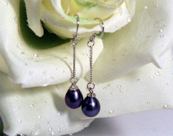 Ohrringe aus Echten Süsswasserperlen 6-7mm Tahiti-Grau Violett O102