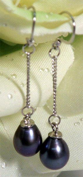 Perlen-Ohrringe aus Echten Süsswasserzuchtperlen O102 6-7mm Tahiti Grau-Schwarz Violett