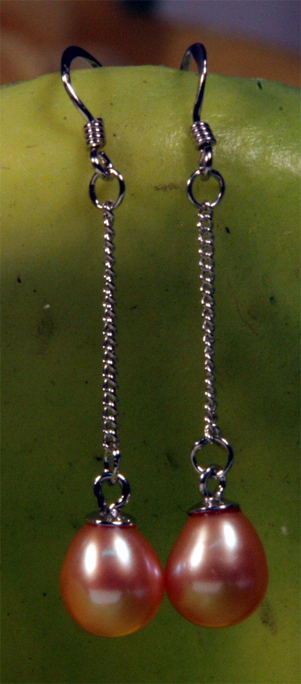 Echte Zucht-Perlen-Ohrringe Silber 925 O107 Lachsfarben