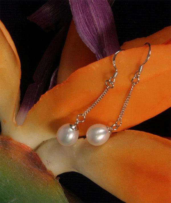Ohringe Echte Perlen 6-7mm weiss, naturfarben 925 SS Silber