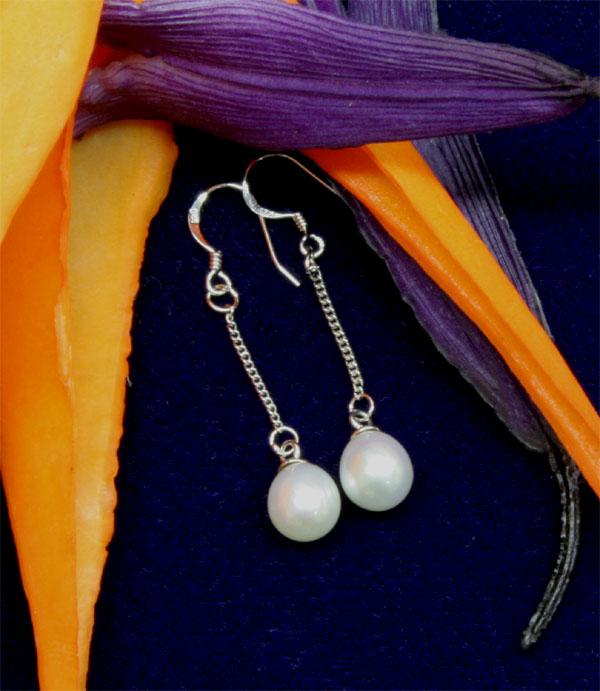 Perlenohrringe 6-7mm Hänger aus Echtem 925 Silber Grösse 6-7mm weiss natur ungefärbt