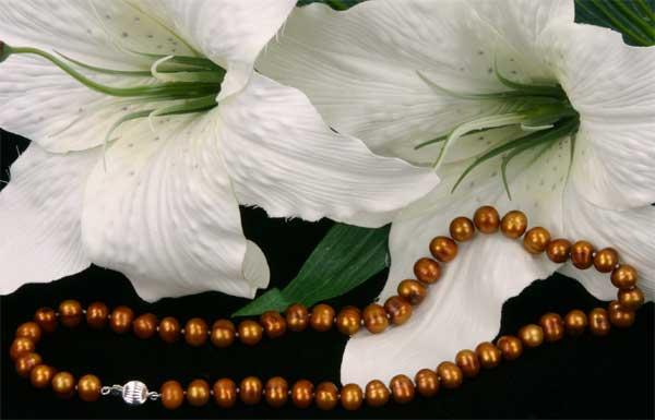 Süßwasser Zucht-Perlenkette -Kupfer/Braun- Länge 45cm