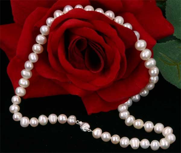 Süßwasser Zucht Perlenkette -weiss- Länge 45cm