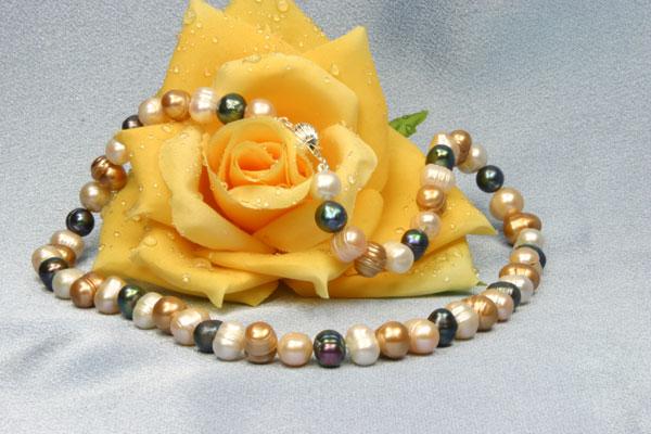 Perlenkette Bunt 45cm K103 Kugelschliesse