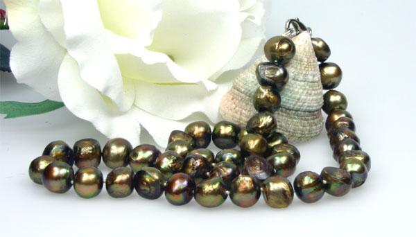 Perlenkette Kupfer 9-10mm K101 ca. 45cm Lang