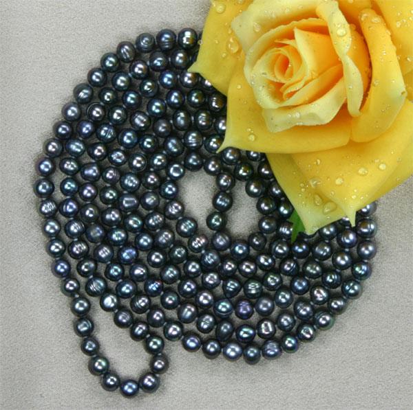 Perlenkette Tahiti Black Violett 160cm K105 Endlos ca. 160cm