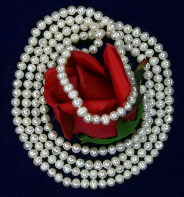 Perlenkette Weiss Endlos 160cm natürliche Farbe ungefärbt
