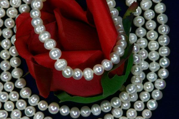 160cm Endlos Perlenkette ungefärbt Weiss