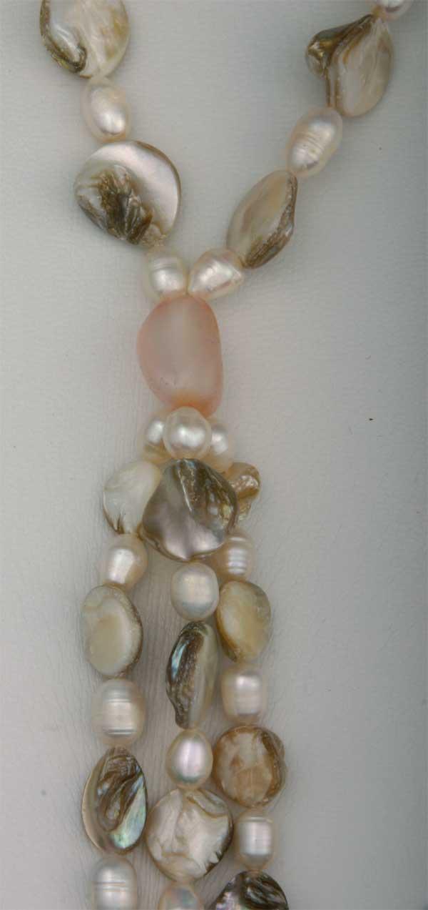 Süßwasser Zucht-Perlenkette Perlmut Grau