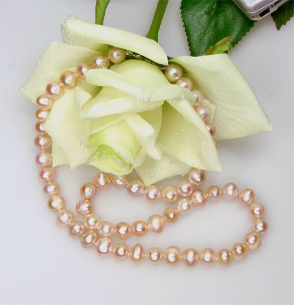 Echte Zucht-Perlenkette rose 7-8mm UVP 139€ ROSE NEU