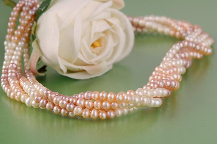 Süßwasser Zucht-Perlenkette fünfreihig gedreht Perlen rund -rose,lachs,weiss-