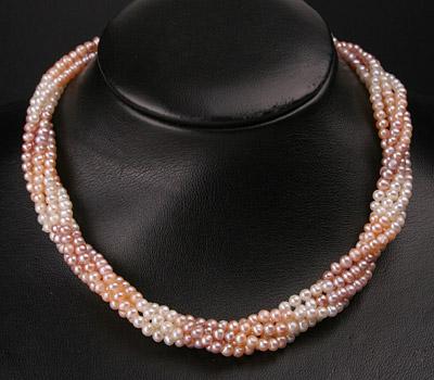 Süßwasser Zucht-Perlenkette fürnfreihig gedreht Perlen rund -rose,lachs,weiss-