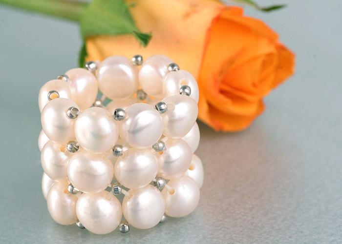 Perlenring 3-Reihig weiss