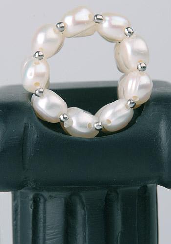 3-Reihiger Echter Zucht-Perlen-Ring aus Süsswasser-Zuchtperlen 3-Reihig