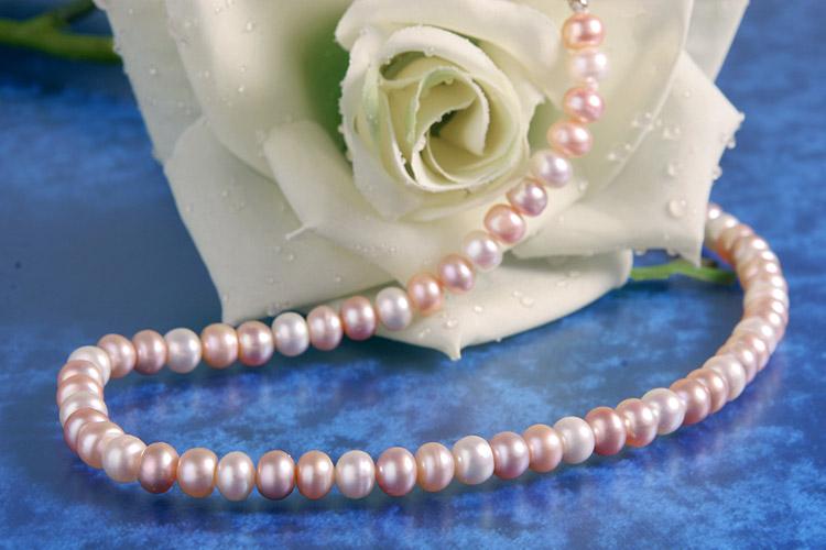 Perlenkette Super-Eng-Geknüpft Rainbow ca. 45cm K108