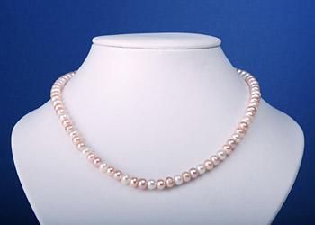 Perlenkette Buttonshape 3-Farbig Rainbow Lachs Weiss Violett 45cm K108
