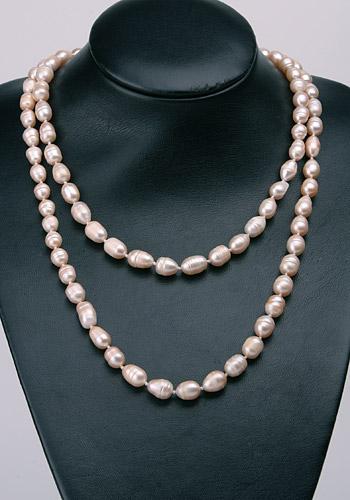 Süßwasser Zucht-Perlen-Kette ca120cm -rose-