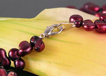 Süßwasser Zucht-Perlen-Kette Zwillingsknopfperlen -weinrot-