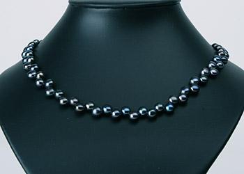 Süßwasser Zucht-Perlenkette versetzte Perlen -anthrazit-