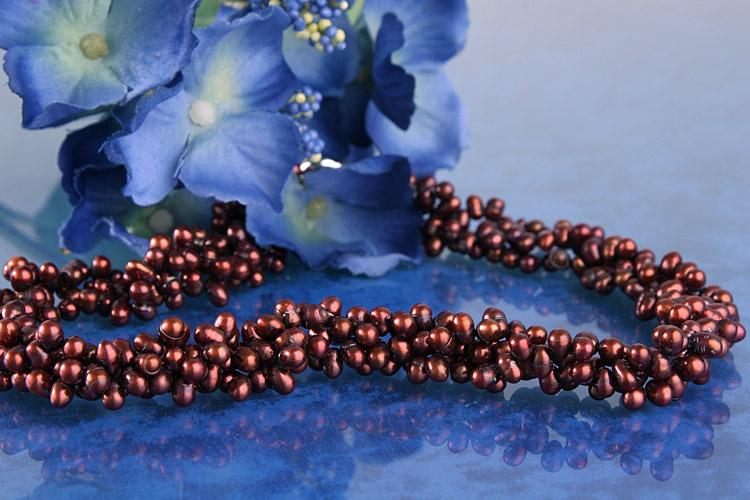 3-reihie Perlenkette Burgundy C05 Collier
