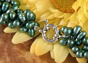 Perlencollier C06 Perlenkette Dunkelgrün