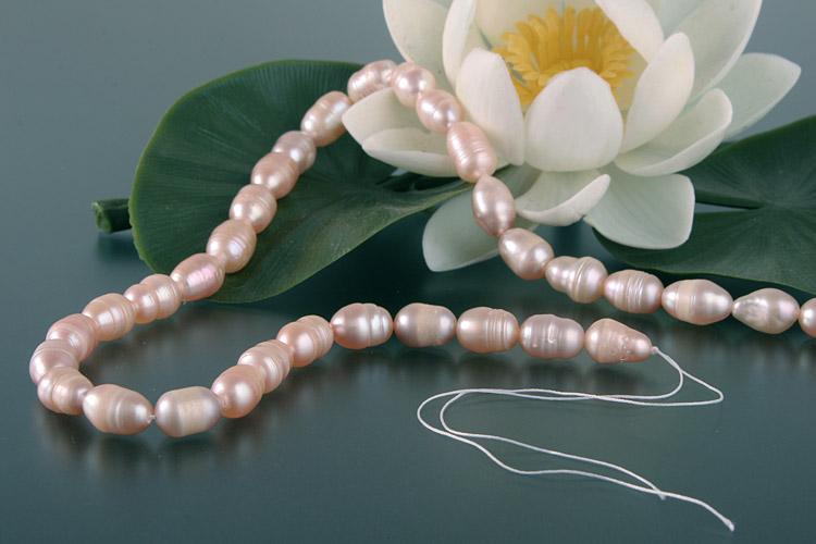 Süßwasser Zucht-Perlen-Strang offen -rose-