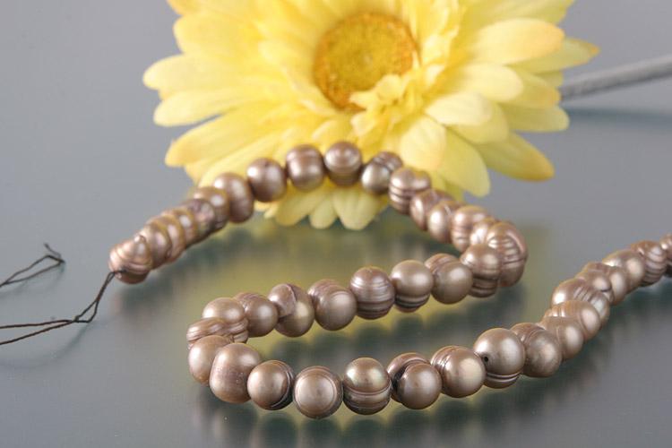 Süßwasser Zucht-Perlen-Strang offen -goldgelb-