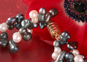 Süßwasser Zucht-Perlen-Collier -weiß,anthrazit-