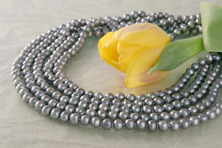 Collier Stella Silbergrau 5-Reihig 6-7mm Perlen