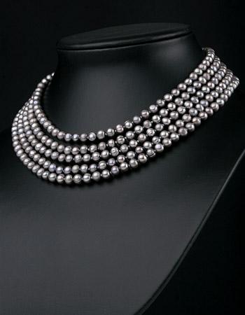 Perlen Collier Echte Süsswasserzuchtperlen Stelina Silbergrau