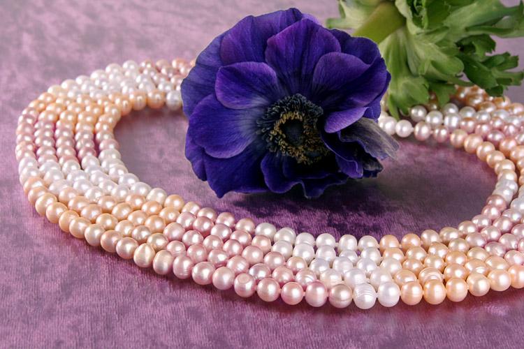 Perlencollier 5-Reihig Weiss Rose Lachs 3-Farbig
