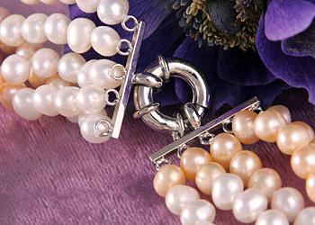 5-Reihiges Echtes Perlen Collier Weiss Lachs Hell Violett