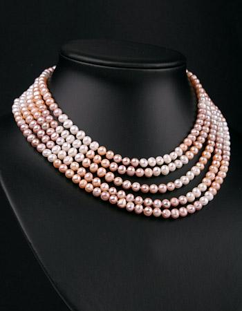 Perlen Collier 5-Reihig Weiss Rose Lachs Regenbogenfarben Naturfarben