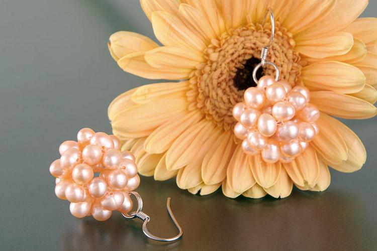 Perlen-Ohrringe Süsswasser-Zuchtperlen in Beerenform O106 Lachsfarben an 925 Silber