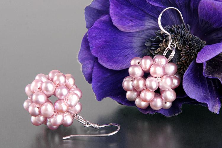 Perlen Ohrringe Beerneform Hell-Violet O105 naturfarben an 925 Sterling Silber
