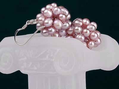 Echte Zuchtperlen-Ohrringe in Beerenform O105 Hell-Violett an 925 Sterling Silver Silber